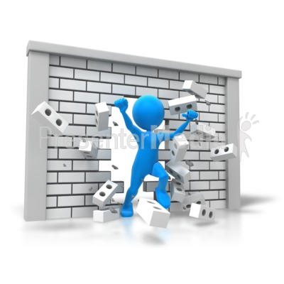 Freedom Breaking Through Wall Presentation clipart