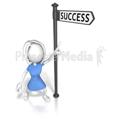 Woman Pointing At Success Presentation clipart