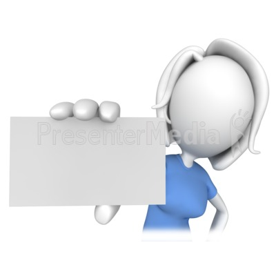 Woman Holding a Business Card Presentation clipart