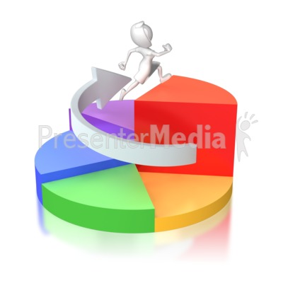 Woman Running Up Pie Chart Presentation clipart