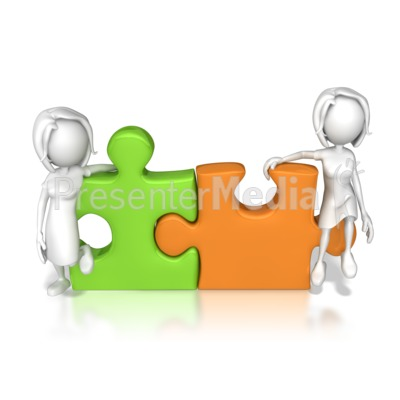 Women Puzzle Pieces Connected  Presentation clipart