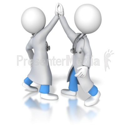 Doctors or Nurses High Five Presentation clipart