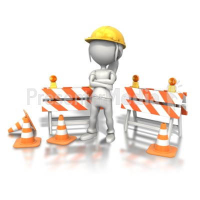 Woman Standing Construction Site Presentation clipart