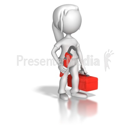 Woman Plumber Toolbox Presentation clipart