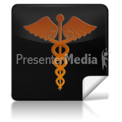 Caduceus Medical Symbol Square Icon Presentation clipart