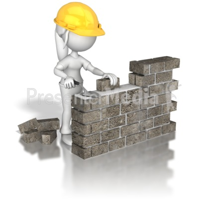 Woman Brick Wall Construction Presentation clipart