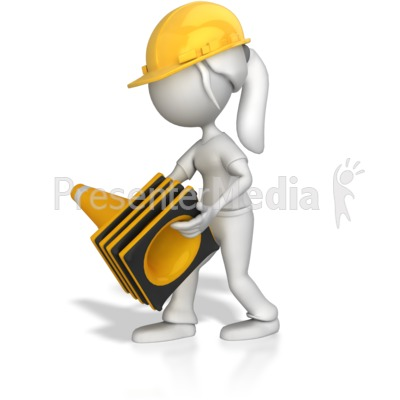 Woman Picking Up Construction Cones Presentation clipart