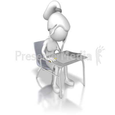 Woman Taking a Test Presentation clipart