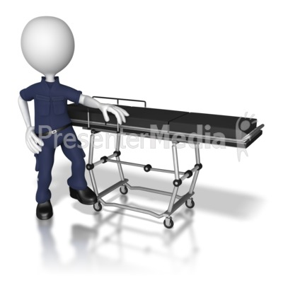 EMT Standing By Transport Gurney Presentation clipart