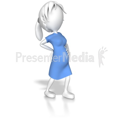 Woman Pregnant Holding Back Presentation clipart