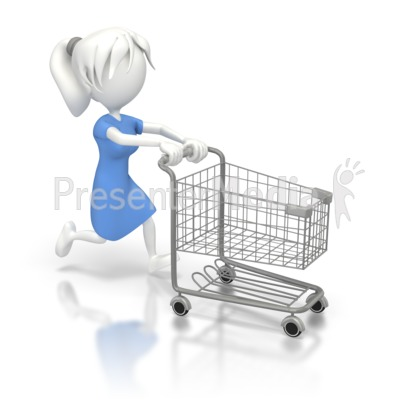 Woman Running with a  Shopping Cart Presentation clipart