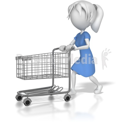 Woman with Shopping Cart Presentation clipart