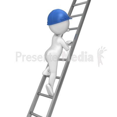 Stick Figure Climbing Ladder Presentation clipart