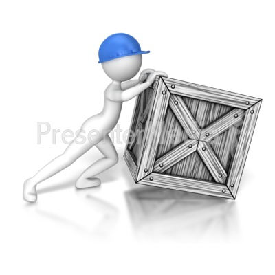 Stick Figure Trying To Push Crate Presentation clipart
