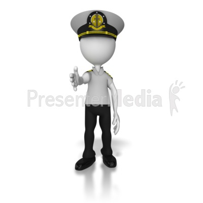 Captain Reaching Out Hand Presentation clipart