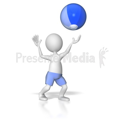 Stick Figure Hitting Beach Ball Presentation clipart