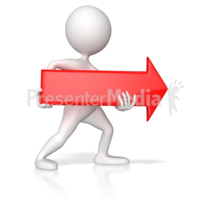 Stick Figure Pointing Red Arrow Right Presentation clipart