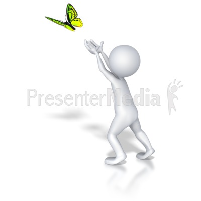 Stick Figure Butterfly Release Presentation clipart