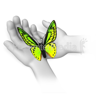 Butterfly Sitting In Hands Presentation clipart