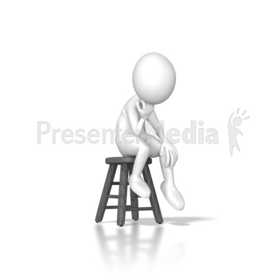 Stick Figure Sitting On A Stool Presentation clipart
