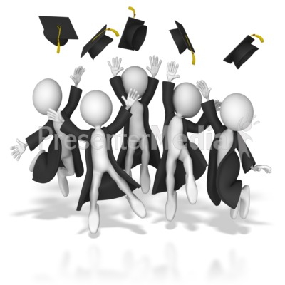 Grads Throwing Up Hats Presentation clipart