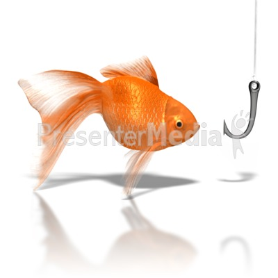 Goldfish Looking At Hook Presentation clipart