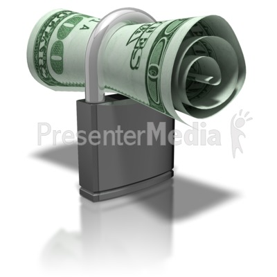 Money In Lock Presentation clipart