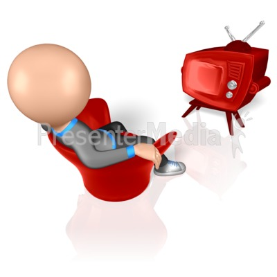 Stick Figure Watching TV Presentation clipart