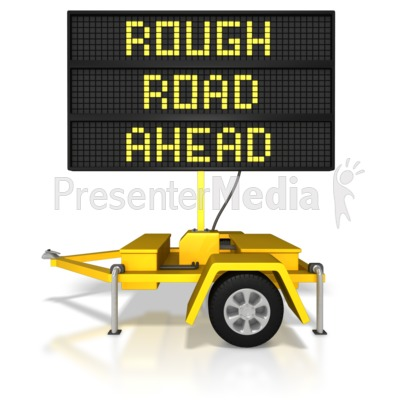 Digital Road Sign Rough Road Ahead Presentation clipart
