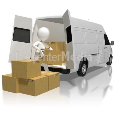 Stick Figure Loading Boxes Presentation clipart