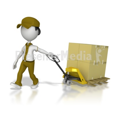 Warehouse Worker Moving Product Presentation clipart