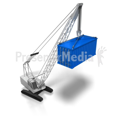 Crane Lifting Cargo Container Presentation clipart
