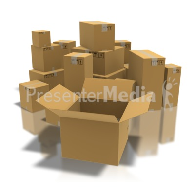 Open Box With Boxes Presentation clipart