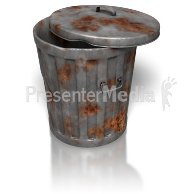Rusty Metal Garbage Can Presentation clipart