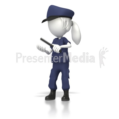 Women Cop With Night Stick  Presentation clipart
