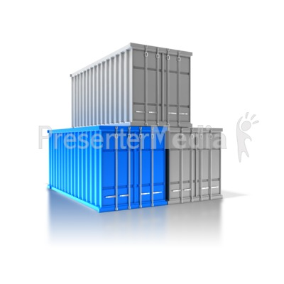 Three Cargo Containers Presentation clipart