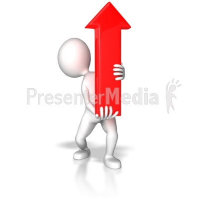 Stick Figure Pointing Red Arrow Up Presentation clipart