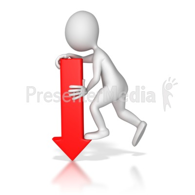 Stick Figure Pointing Red Arrow Down Presentation clipart
