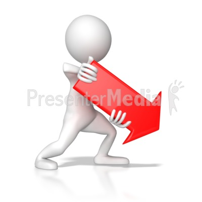 Stick Figure Pointing Red Arrow Down Rig Presentation clipart
