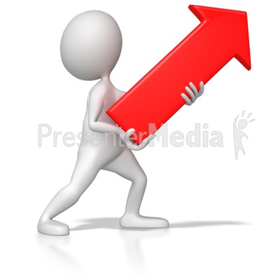 Stick Figure Pointing Red Arrow Up Right Presentation clipart