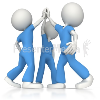 Nurse or Doctor Team High Five Presentation clipart