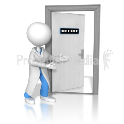 Doctor or Nurse Opening The Door Presentation clipart