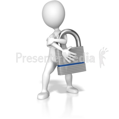 Stick Figure Holding Lock Presentation clipart