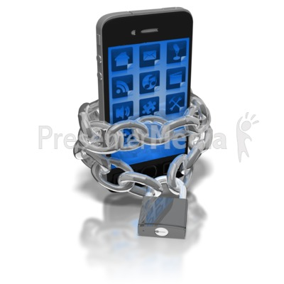 Smart Phone Locked In Chains Presentation clipart