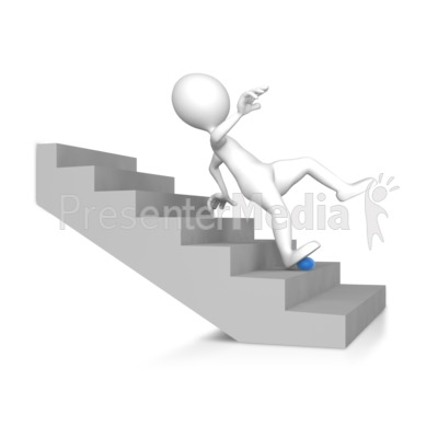 Stick Figure Falling Down The Stairs Presentation clipart