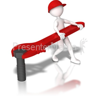 Stick Figure Hardhat Tighten Bolt Presentation clipart
