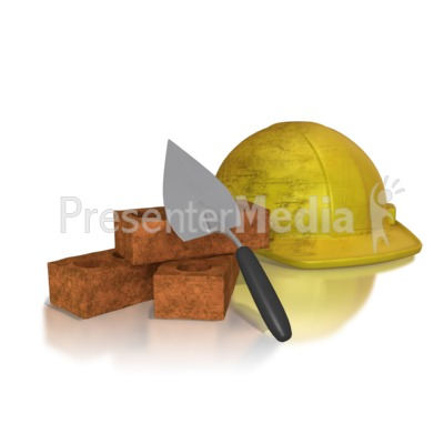 Brick Trowel Hard Hat Presentation clipart