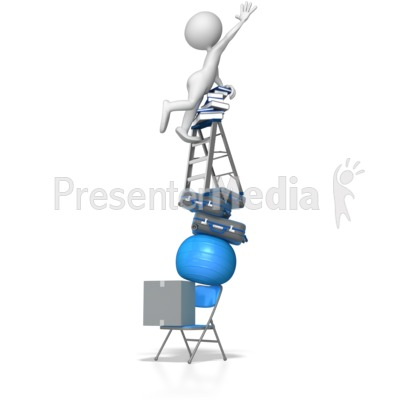 Climbing Unstable Stack of Objects Presentation clipart