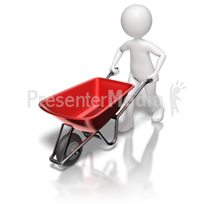 Stick Figure Pushing Wheel Barrow Presentation clipart