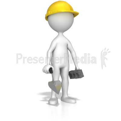 Mason With Bick And Trowel Presentation clipart